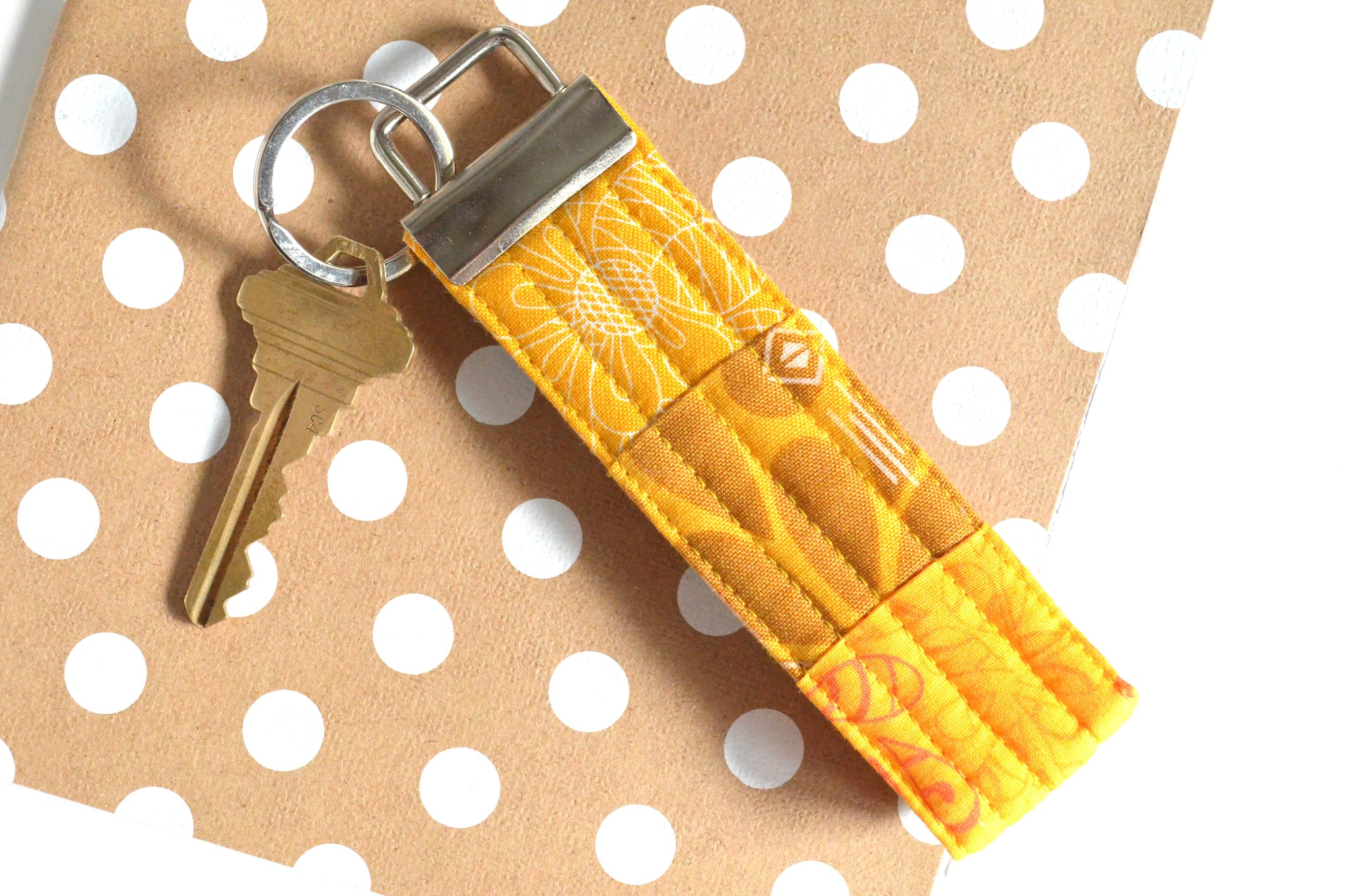 Yellow Patchwork Keychain