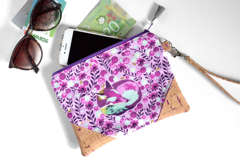 Purple Fox Cork Wristlet Clutch