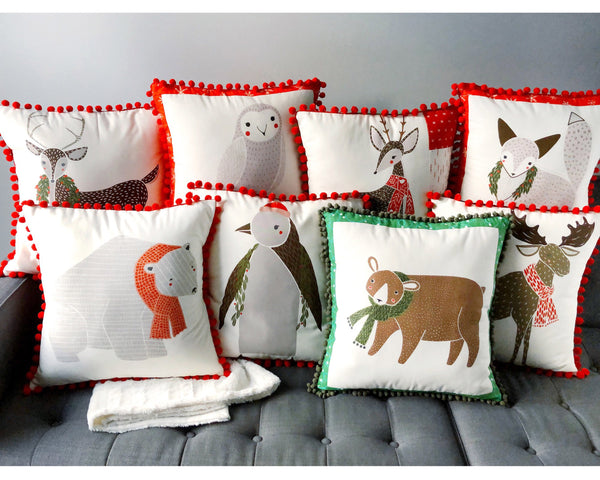 Pillow Cover - Holiday Deer