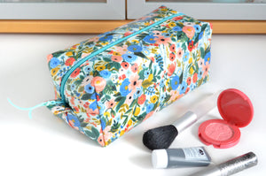 Light Blue Rifle Floral Toiletry Bag