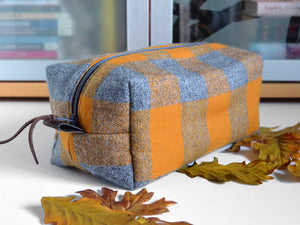 Yellow Plaid Flannel Toiletry Bag