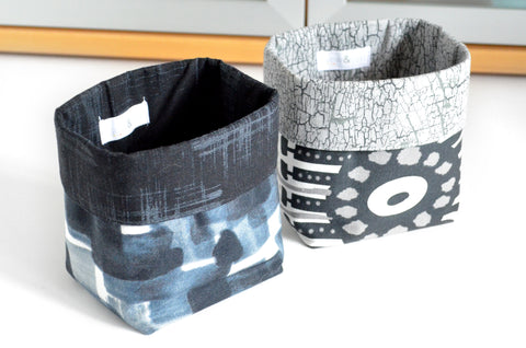 Black & Grey Ikat Fabric Plant Pot