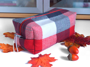 Red & Navy Plaid Flannel Toiletry Bag