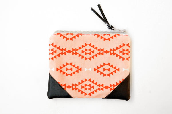 Coral Nomad Leather Coin Purse