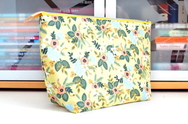 Rifle Paper Co Yellow Birch Floral Jumbo Toiletry Bag