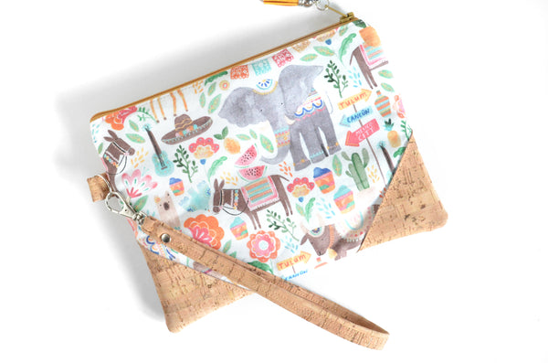 Mexico City Cork Wristlet Clutch