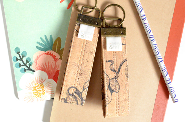 Smokey Lily Cork Leather Keychain