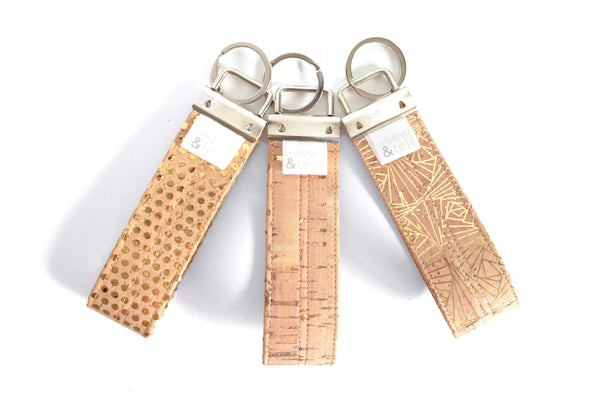 Gold Cork Leather Keychain