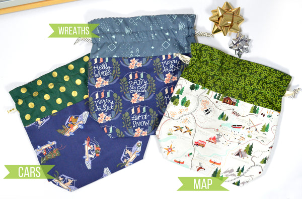 Navy Holiday Fabric Gift Bags