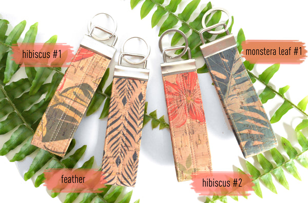 Tropical Cork Leather Keychain