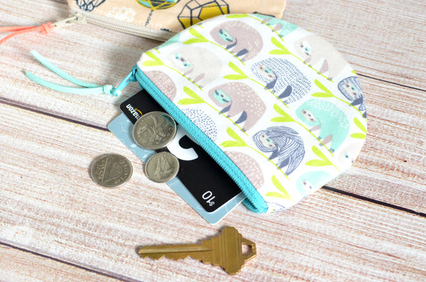 Sloth & Terrarium Round Coin Purse