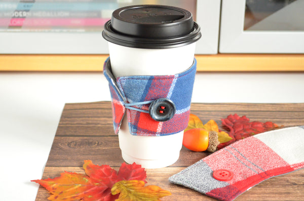 Blue Flannel Plaid Coffee Sleeve