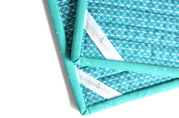 Turquoise Pot Holders - Dotted Binding