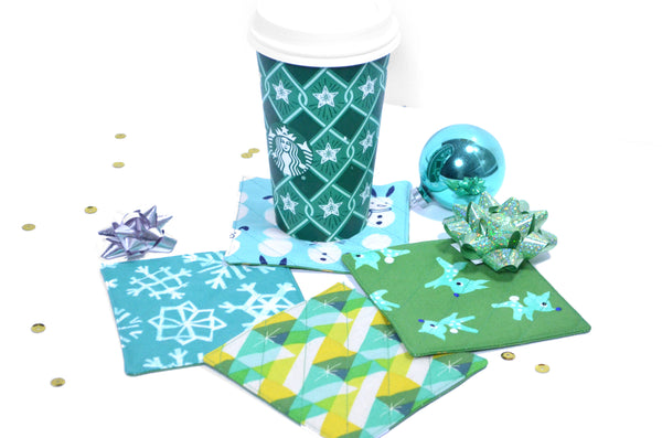 Blue & Green Retro Holiday Drink Coasters