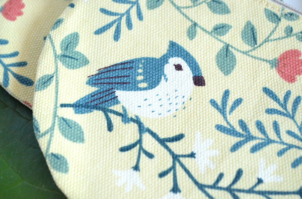 Beige Bird Round Coin Purse