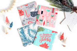 "Pink & Blue ""Sweary"" Holiday Drink Coasters"