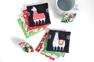 Black Llama Holiday Drink Coasters