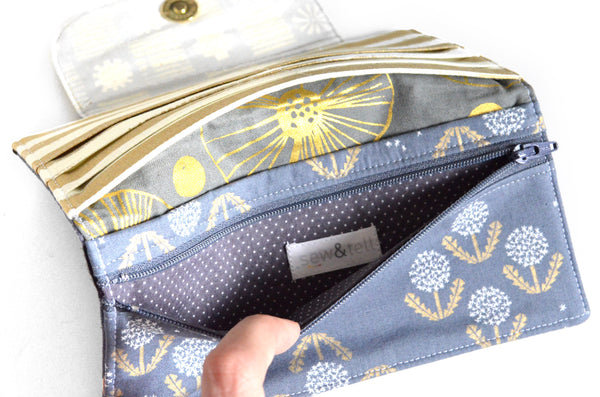 Grey & Gold Dandelion Wallet