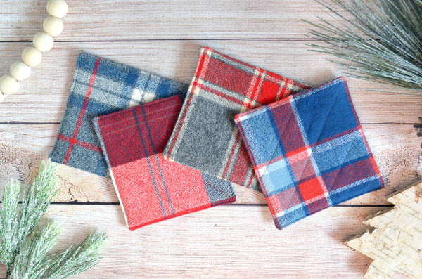Plaid Flannel Holiday Drink Coasters