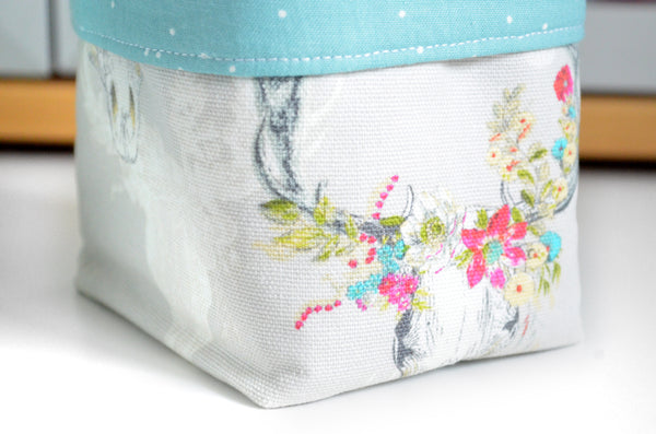 Blue Floral Fabric Plant Pot