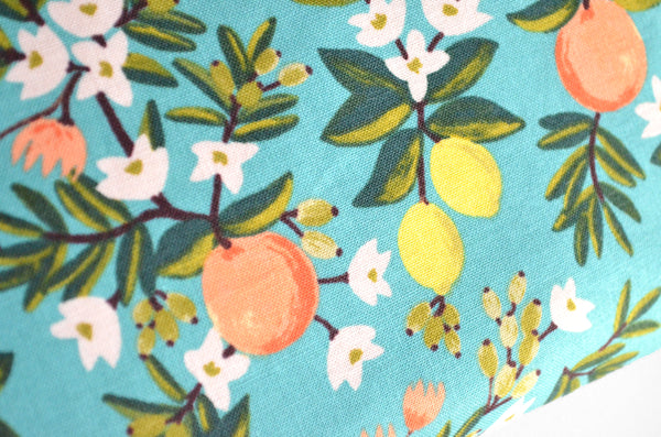 Rifle Paper Co Teal Citrus Floral Jumbo Toiletry Bag