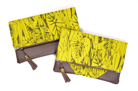 Green Tropical Fold Over Clutch