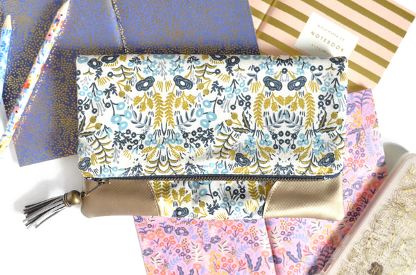 Rifle Paper Co Gold Tapestry Fold Over Clutch