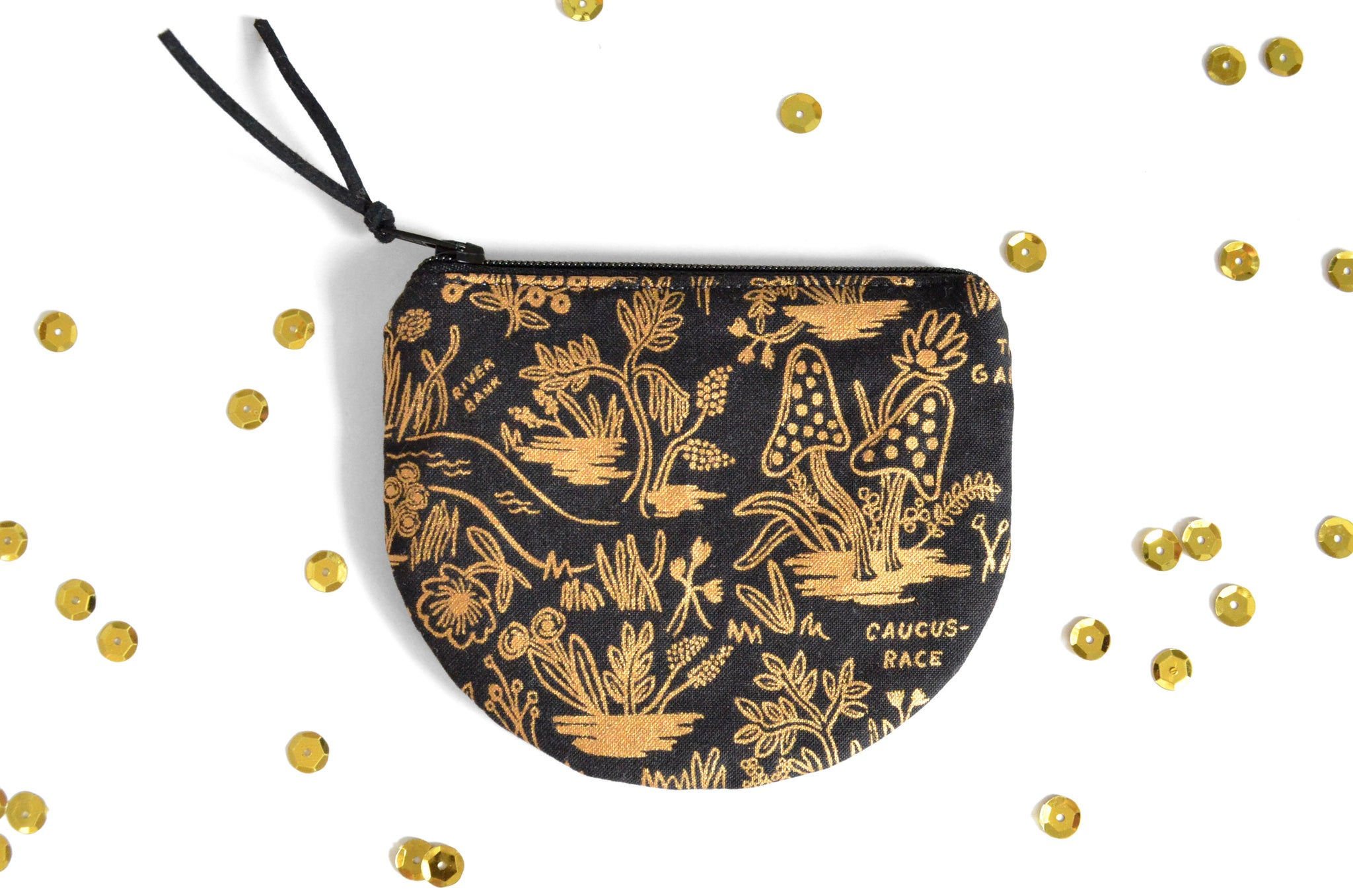 Black & Gold Alice in Wonderland Round Coin Purse