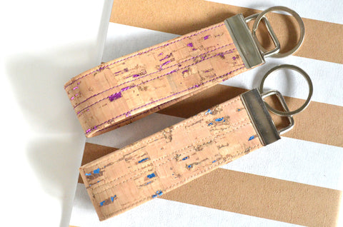 Purple & Blue Fleck Cork Leather Keychain