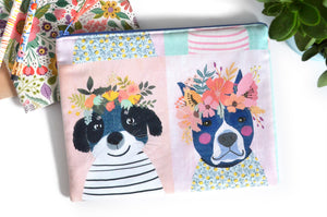 Large Pouch - Flower Crown Pups