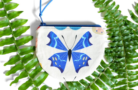 Blue Butterfly Round Coin Purse