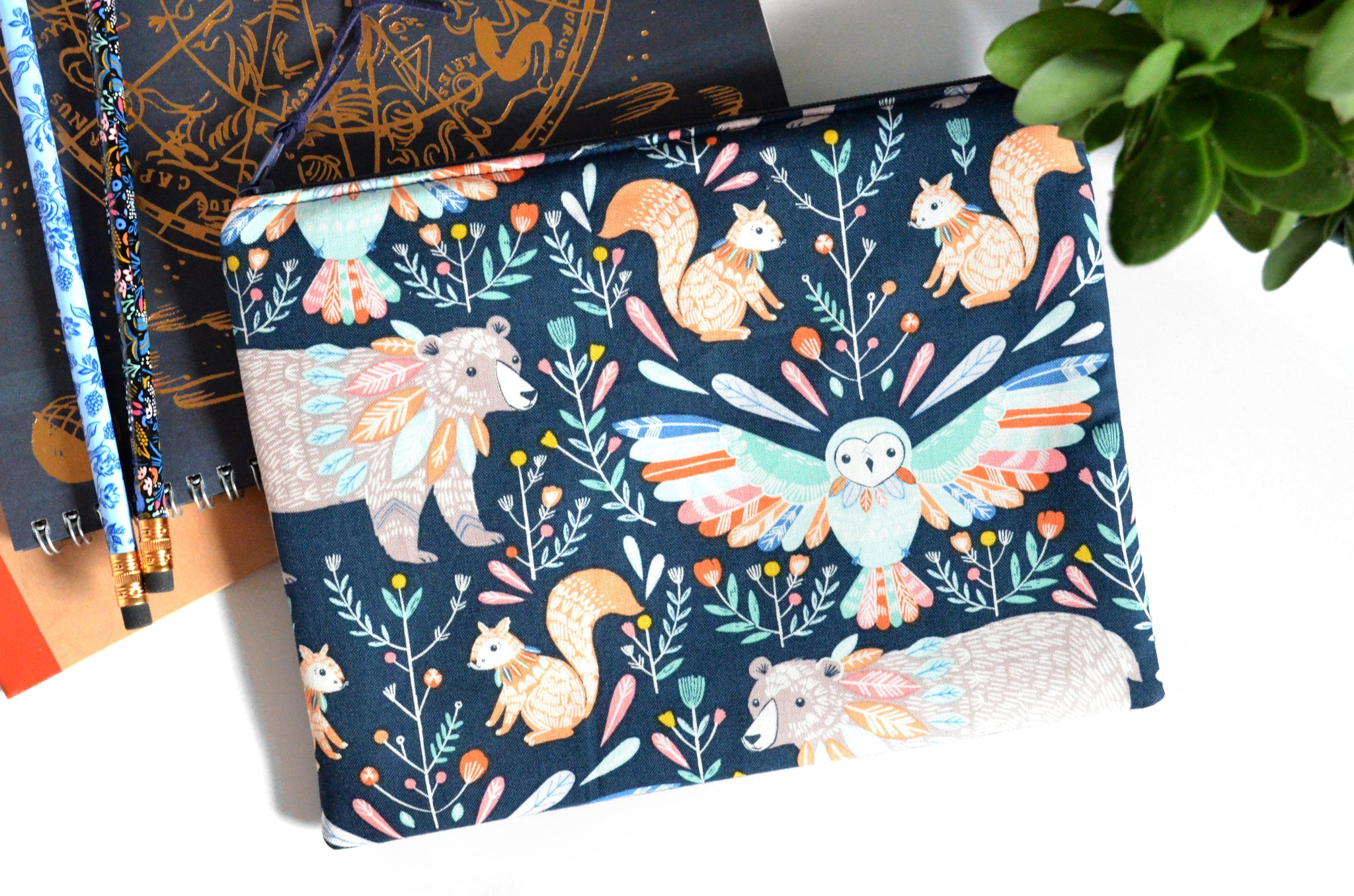 Large Pouch - Boho Woodland Animals