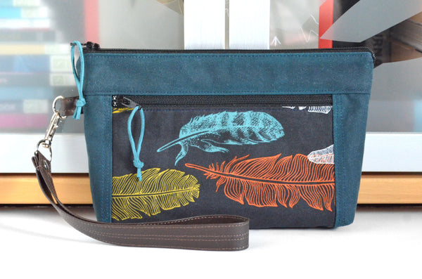 *Waxed Cotton* Black Feather Double-Zip Wristlet