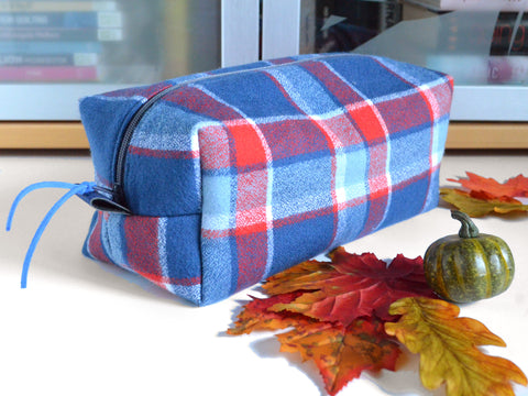 Blue Plaid Flannel Toiletry Bag