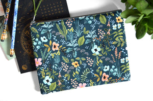 Large Pouch - Teal Rifle Paper Floral