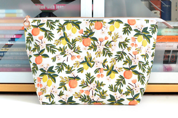 Rifle Paper Co White Citrus Floral Jumbo Toiletry Bag