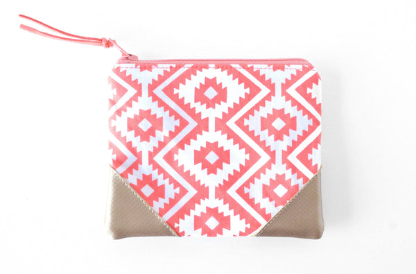Coral Fiesta Leather Coin Purse