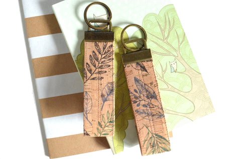 Botanical Cork Leather Keychain