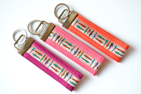 Bright Feather Ribbon Keychain