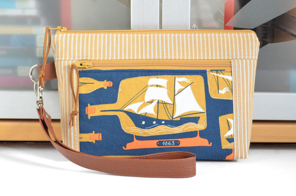 Ship in a Bottle Double-Zip Wristlet