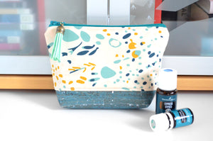 Teal Floral Mini Essential Oil Bag