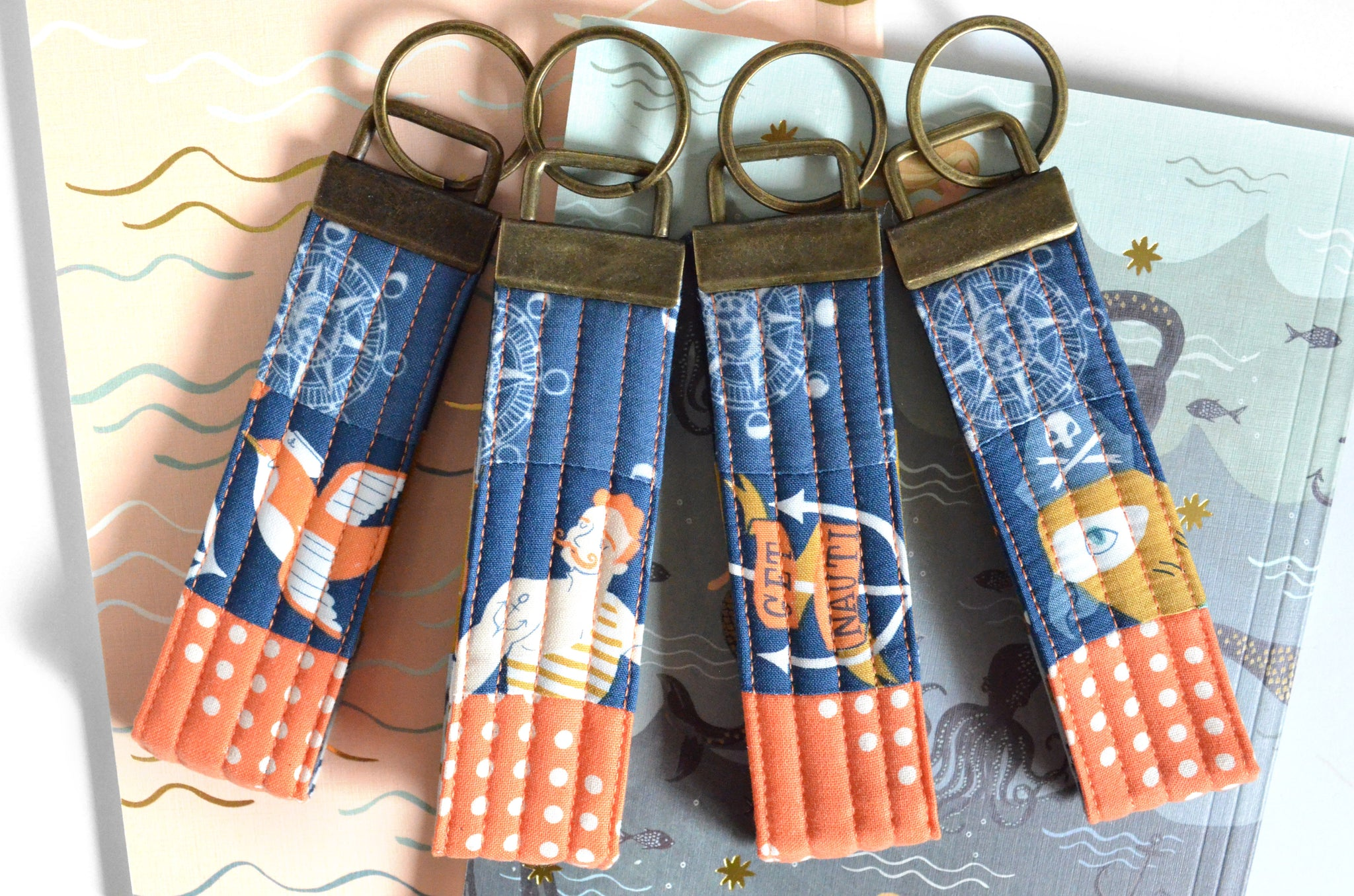 Nautical Patchwork Keychain