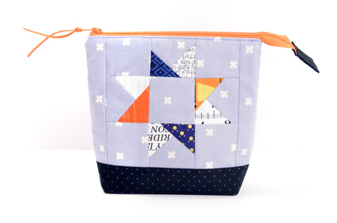 Blue & Orange Patchwork Star Pouch