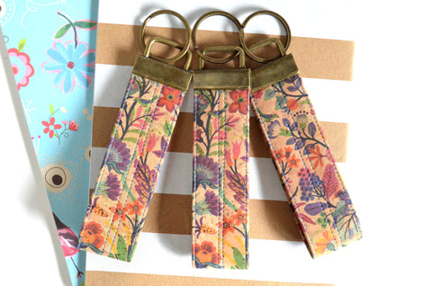 Folk Floral Cork Leather Keychain