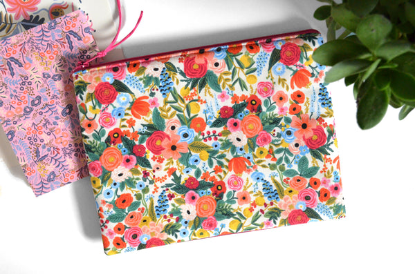 Large Pouch - Pink Rifle Paper Garden Party