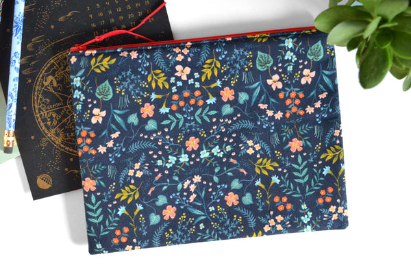 Large Pouch - Navy & Red Rifle Paper Floral