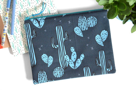 Large Pouch - Bright Blue Cacti
