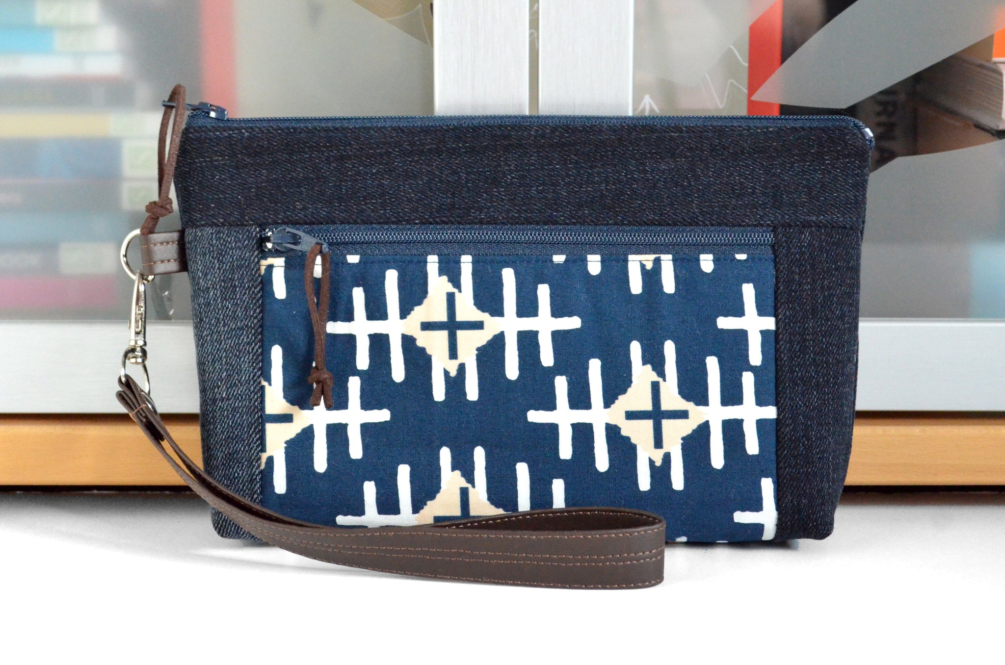 Denim Path Marker Double-Zip Wristlet