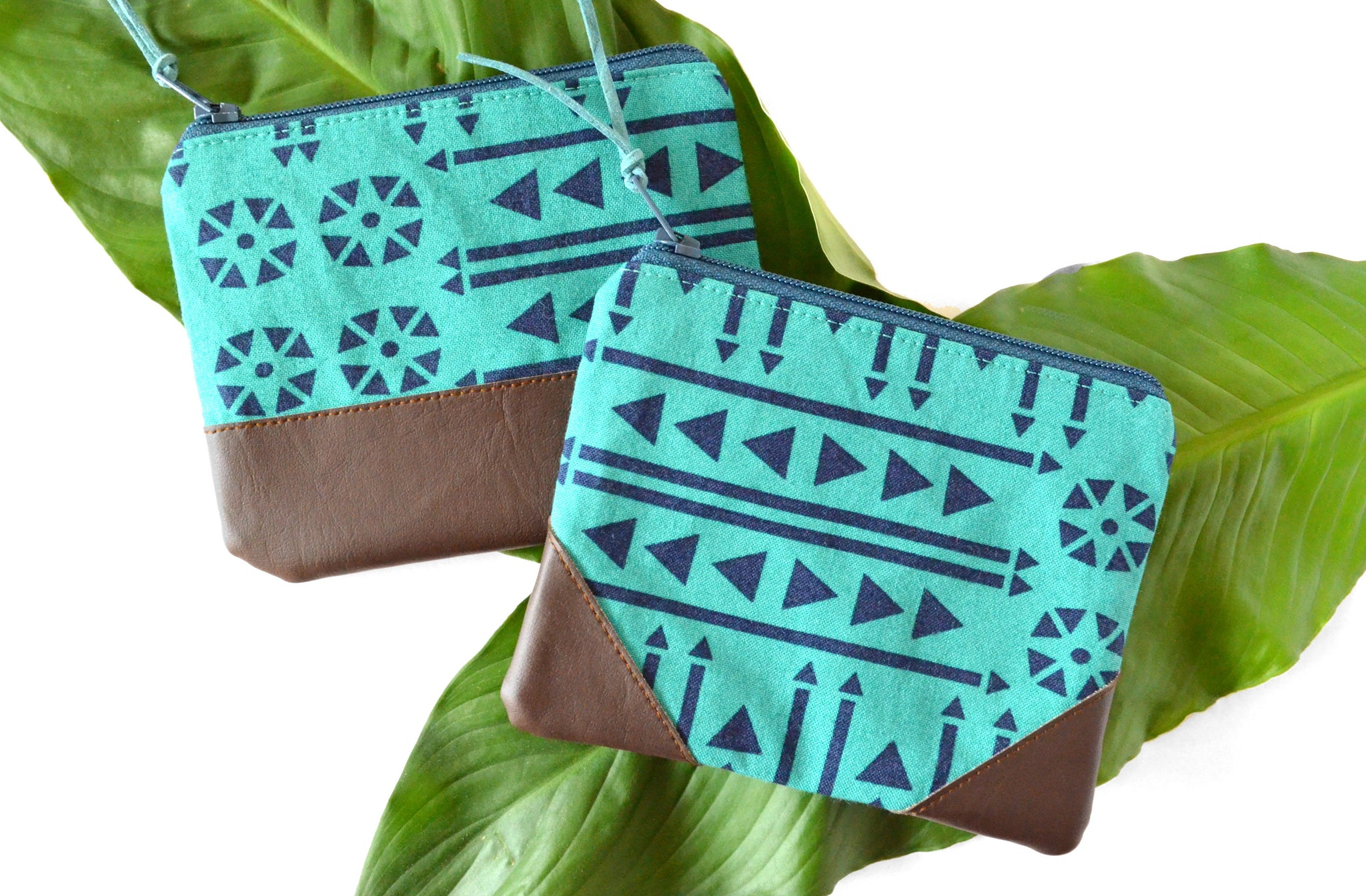 Teal Boho Leather Coin Purse