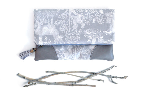 Grey Woodland Animals Fold Over Clutch